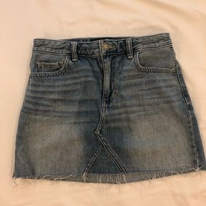 Hollister high rise light wash mini skirt